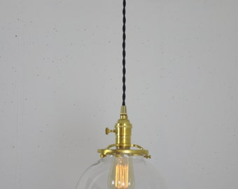 8 Inch Glass Globe Shade Pendant Light, Hanging Light Fixture, Unfinished Brass Pendant