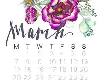 march floral calendar art print