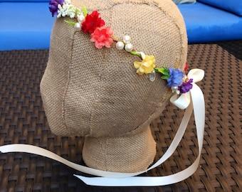 Rainbow flower crown. Rainbow heaband. Floral crown. Gay pride floral crown. flower hair accessory. Birthday headband. Floral hair band.