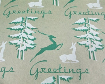 4 Yards 1940's Antique Deer Wrapping Paper Vintage Tree art Deco Greetings Moderne Gift Wrap