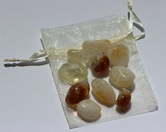 Citrine - 10 tumbled Healing Crystals - with pouch - Reiki Charged - Solar Plexus - Gifts