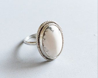 Genuine Howlite Sterling Silver Ring | White stone | grey | gray | genuine | semi precious | .925 | unique |
