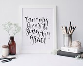 Come Thou Fount Watercolor Lettered Calligraphy 8x10 Poster