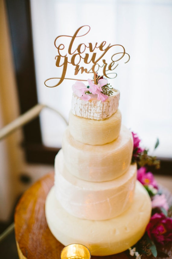 Gold Love You More Cake Topper, Wedding Cake Topper, Gold Wedding Cake Topper, Cake Topper for Wedding, Engagement Cake Topper