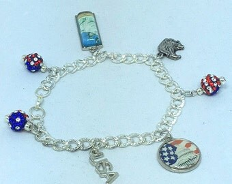 Red White Blue Patriotic Silver Charm Bracelet