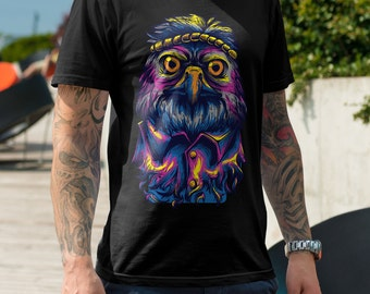 Hippie Owl Urban Men's T Shirt - American Apparel T-shirt shirt adult soft graphic design black  Gift for him tee