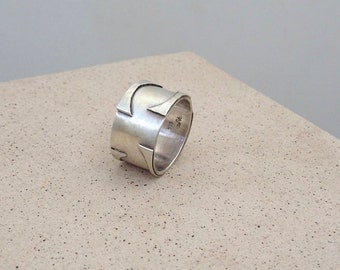 Unique Mens ring, wide men's ring, Sterling Silver Ring for man , Handmade silver ring , Ring for Him