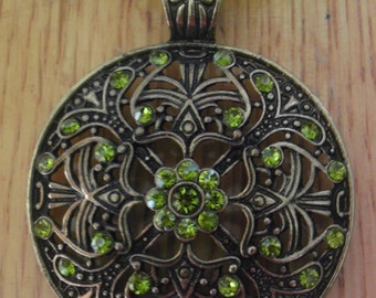 Green Antiqued Brass Necklace