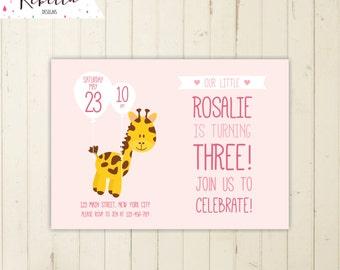 giraffe birthday invitation zoo invitation girl birthday invitation 1st birthday giraffe invitation zoo birthday invitation pink invite 263