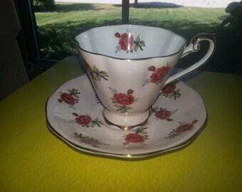 Vintage 1950s Standard Fine Bone China England Single Pink Rose Cup and Saucer Set