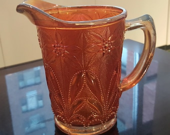 SUMMER CARNIVAL SALE**Carnival Glass Marigold Imperial Poinsettia Milk Pitcher