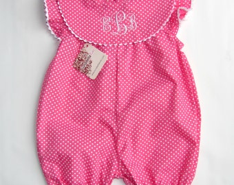 Fuchsia polka dots Monogram Bubble , Spring baby Girl monogram Romper,  infant bubble for baby girl  FREE  Personalization sz 3M,6M, 12M