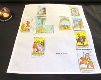 Tarot cloth, Tarot spread cloth, Tarot mat, Tarot spread, Fortune telling, two tarot spreads for learning, divination tool, tarot reading