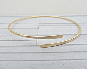 Gold filled bangle, Gold filled cuff, Simple gold bracelet, 14k gold filled cuff, Thin gold bangle, Thin gold cuff, Minimalist bracelet, UK