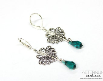 Victorian Gothic Earrings - Silver filigrees with Swarovski crystal pendants - Victorian Gothic Jewelry