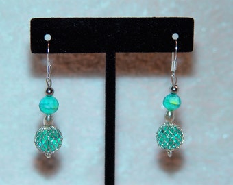 Blue Swirl Dangle Earrings