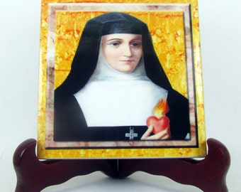 Catholic saints serie - St Jane Frances de Chantal - christian art - ceramic tile handmade - Saint Jane Chantal - catholic saint