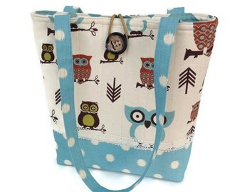 Blue handbag, Blue hand bag, Owl tote bag, Cotton shoulder bag, Shoulder tote blue, Yarn tote bag, Knitting tote bag, Pocketbook blue