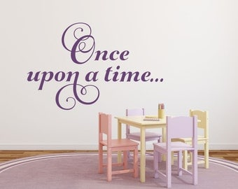 Once Upon A Time Decal Princess Wall Decal Reading Wall Decal Reading Nook  Decal Fairy Tale Decal Princess Wall Decor Girl Bedroom Decor