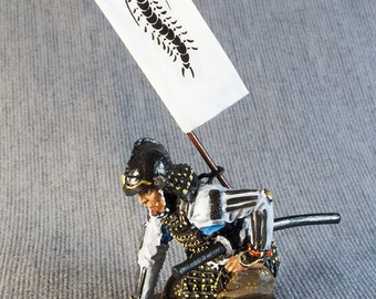 Japanese Toy Soldiers Samurai with Sashimono 1/32 Scale 54mm Hand Painted Tin Miniature Sculpture Statuette