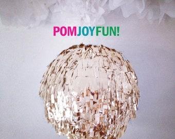 Custom Piñata,  HUGE Gender Reveal Fringe Piñata, Gold Birthday Piñata, Fringe Wedding Pinata | Round Pinata