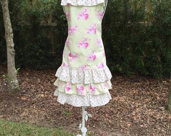 Shabby Chic Women's Floral Ruffled Full Apron