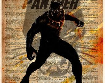 Black Panther art, splatter superhero art, silhouette art, black panther super hero