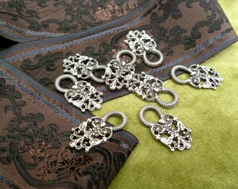 4 pairs of decorative, classic, hooks for Dirndl or Bavarian girl's dress, metal antique silver colored,  Octoberfest, beer garden!