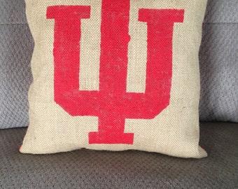 Indiana University burlap pillow, decorative pillow, painted burlap red, shabby chic pillow, hoosier pillow