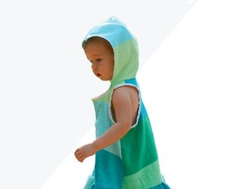 Aegean Swim Cover, boys girls swim cover up terry cloth or knit, dress or shirt pdf sewing pattern