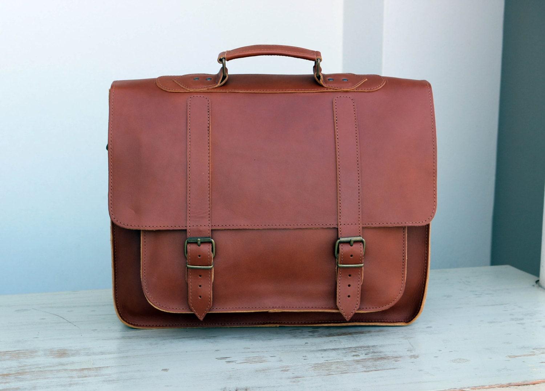 Leather Messenger Bag 17 inch Laptop Bag Caramel Leather