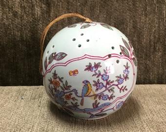 Floral Porcelain Pomander, Floral with Blue Bird and Butterfly Pomander, Sachet, Closet Sachet, Closet Pomander, Floral Ball Ornament