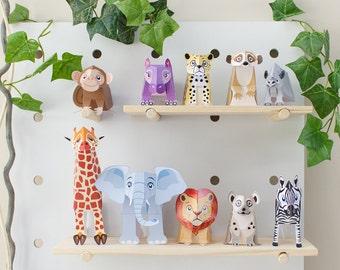 Safari Animal Toys  / African Animal Toys / Savannah / Printable Kids Gift DIY Papercraft Kit / INSTANT DOWNLOAD - by Kooee Papercraft