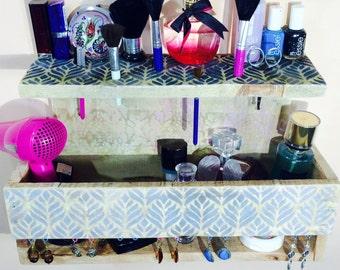 Makeup organizer pallet wood hanging shelf wall vanity /floating shelves/ jewelry storage/ reclaimed wood nightstand earring holder hooks