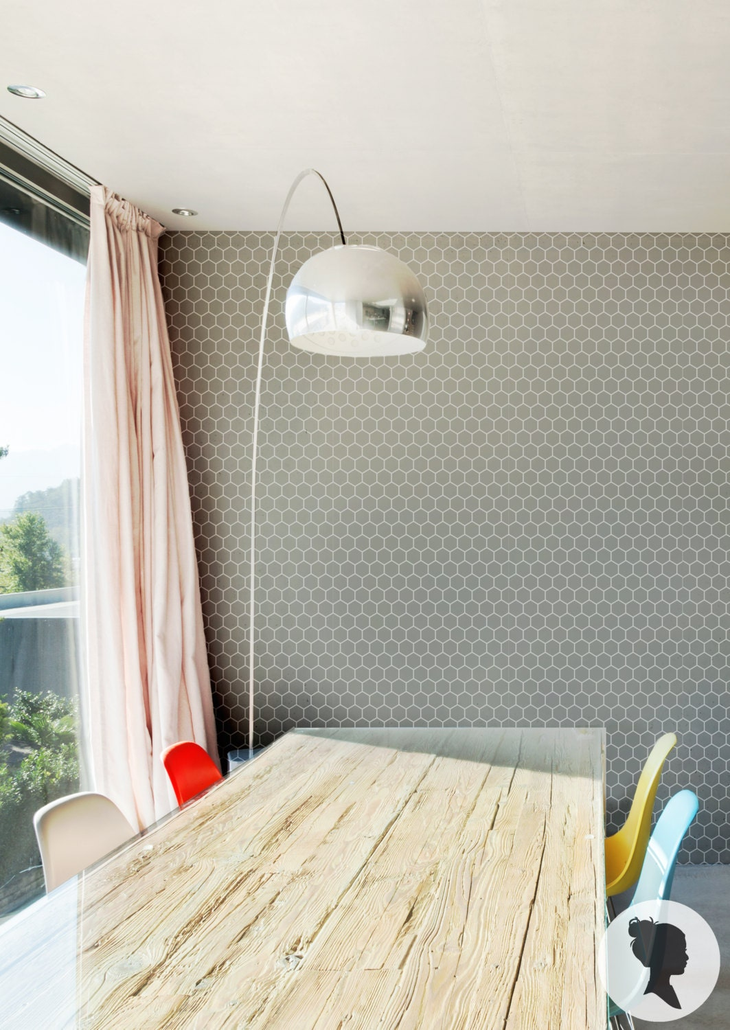 honeycomb removable wallpaper hexagon pattern peel and stick. Black Bedroom Furniture Sets. Home Design Ideas