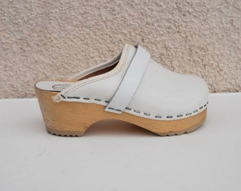 White Wooden Childrens Clogs Leather Clogs Ethnic Childrens Shoes Clogs Natural Shoes Size EUR 25