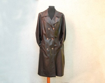 Vintage Dark Brown Genuine Leather Coat Brown Leather Long Trench Coat Double Breasted Leather Coat Size Large Scandinavian