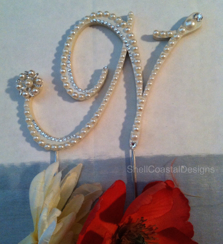Wedding Cake Topper Pearl Monogram Wedding Cake Topper with