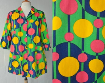 Green Vintage Top With Dots In Yellow Pink And Blue  // Cotton // Apronef // Size 40