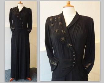 40s Vintage Crepe Maxi Dress  // Black  // Beaded Flowers // Size M/L