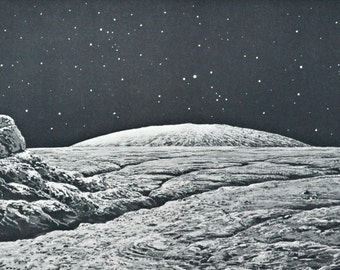 Moonscape. Moon horizon. Astonomy print. Old book plate, 1937. Antique  illustration. 80 years lithograph. 9'4 x 12'1 inches.