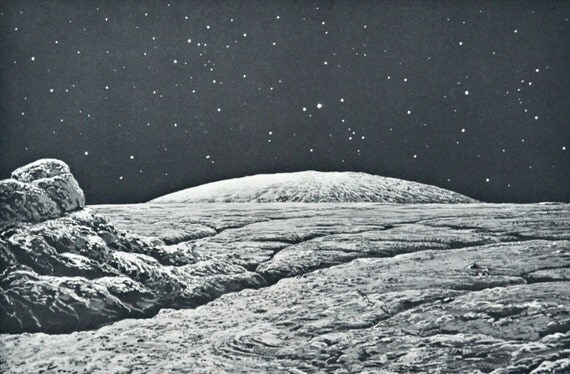 Moonscape. Moon horizon. Astonomy print. Old book plate, 1937. Antique  illustration. 78 years lithograph. 9'4 x 12'1 inches.