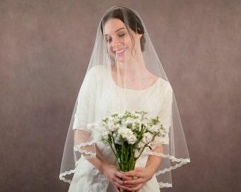 Drop veil, lace edge wedding veil, blusher veil, two tier bridal veil with lace edging, ivory veil, bridal illusion tulle veil
