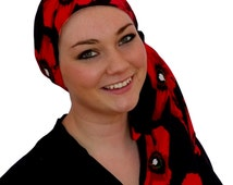 Jessica Pre-Tied Head Scarf - Red Poppies - A Cancer, Chemo, Alopecia Hat, Head Cover, Wrap, for women experiencing hair loss.