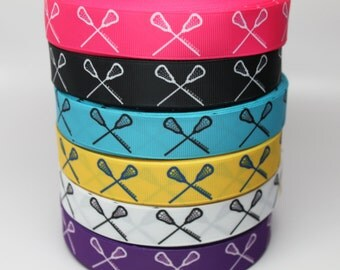 Lacrosse Ribbon 7/8 Grosgrain Ribbon by the Yard for Hairbows, Scrapbooking, and More!