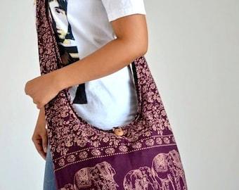 Fabulous Amethyst Cotton Bag Handbags Elephant Bag Hippie Hobo Bag Boho Bag Shoulder Bag Sling Bag Messenger Bag Crossbody Purse