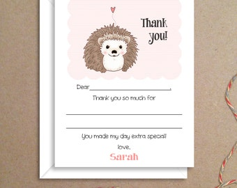 Fill-in Thank You Notes - Hedgehog Flat Notes - Childrens Thank You Cards - Illustrated Note Cards