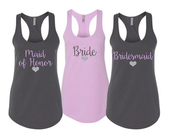 4 Bridesmaid Shirts, Bridesmaid Tank Tops, Bridesmaid Gift, Wedding Tank Tops, Maid Of Honor Shirt, Bachelorette Party Shirts