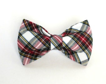Red, White and Green Plaid Dog Bow Tie, christmas