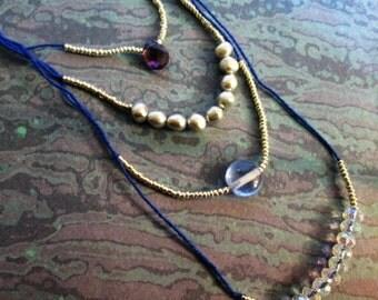 Multi-Strand Blue Beaded Necklace